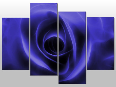 ROSE FRACTAL BLUE FLORAL LARGE SPLIT PANEL 4 PANEL CANVAS WALL ART IMAGE