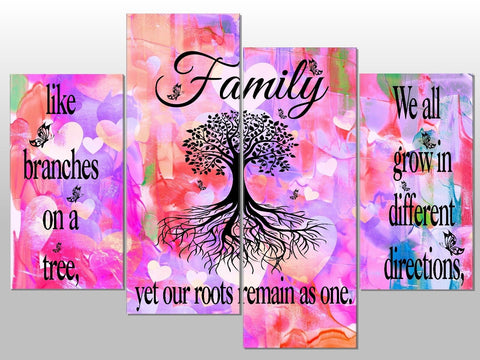 FAMILY TREE ROOTS BRANCHES QUOTE LARGE SPLIT PANEL 4 PANEL CANVAS WALL ART IMAGE