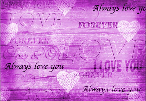 PURPLE CANVAS LOVE IMAGE I LOVE YOU ALWAYS HEARTS CANVAS WALL ART HANGING IMAGE