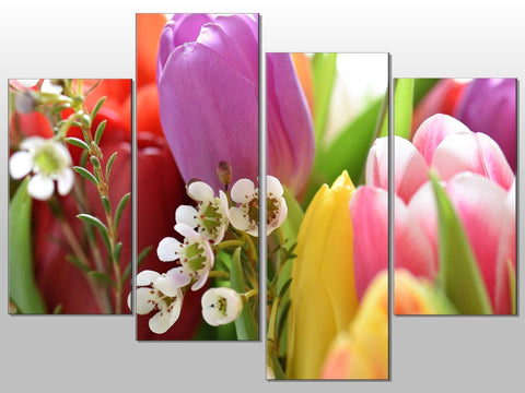 FLOWERS TULIP MULTI COLOURED LARGE SPLIT PANEL 4 PANEL CANVAS WALL ART IMAGE