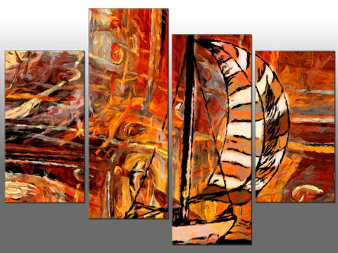 ABSTRACT ART ORANGE BROWN LARGE SPLIT PANEL 4 PANEL CANVAS WALL ART IMAGE