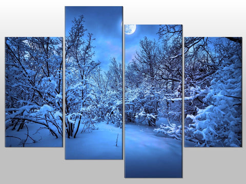 BLUE MOON SNOW SCENE WOODS TREES LARGE SPLIT PANEL 4 PANEL CANVAS WALL ART