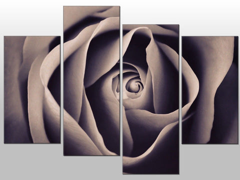ROSE GREY BLACK WHITE FLOWER LARGE SPLIT PANEL 4 PANEL CANVAS WALL ART IMAGE