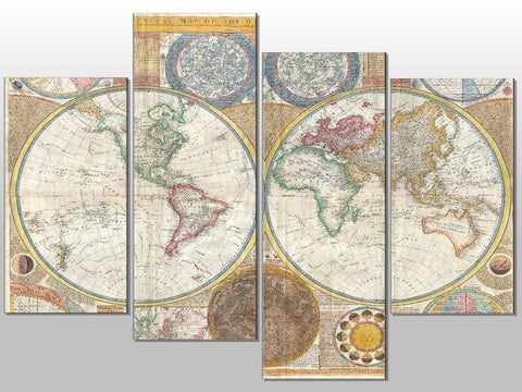 ATLAS VINTAGE ANTIQUE WORLD MAP LARGE SPLIT PANEL 4 PANEL CANVAS WALL ART IMAGE