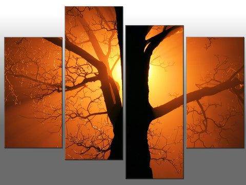 ORANGE SUNSET TREE LARGE SPLIT PANEL 4 PANEL CANVAS WALL ART IMAGE ORANGE TREE