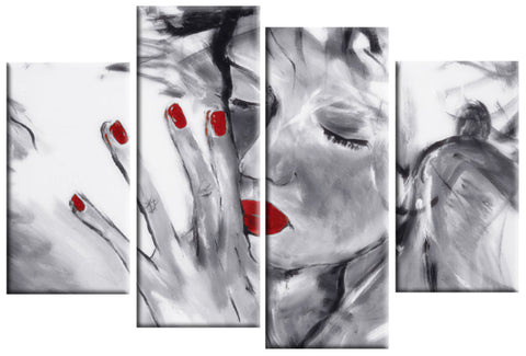 MISSED YOU BLACK WHITE RED LARGE SPLIT PANEL 4 PANEL CANVAS WALL ART IMAGE
