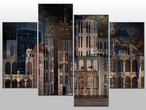 ABTRACT ART CITY GREY BEIGE LARGE SPLIT PANEL CANVAS WALL ART IMAGE PIICTURE