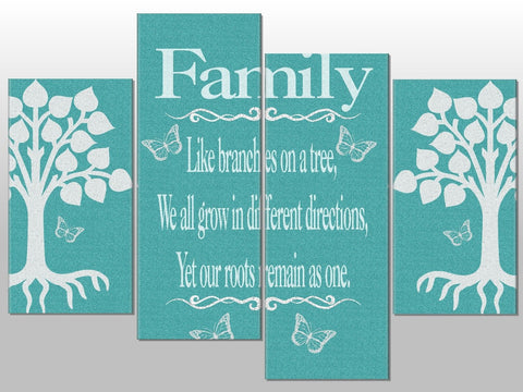 TURQUOISE TEAL FAMILY TREE QUOTE BUTTERFLY CANVAS WALL ART HANGING IMAGE