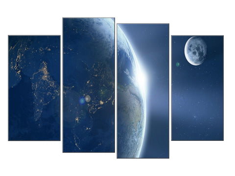 BLUE SKY PLANETS EARTH LARGE SPLIT PANEL 4 PANEL CANVAS WALL ART IMAGE