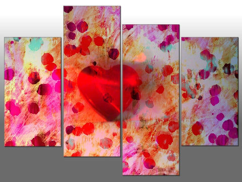 PINK RED LOVE HEARTS LARGE SPLIT PANEL 4 PANEL CANVAS WALL ART IMAGE HEART LOVE