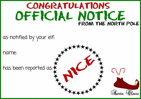PERSONALISED NAUGHTY OR NICE LIST CERTIFICATE CHRISTMAS FATHER CHRISTMAS SANTA
