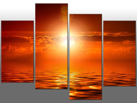 SUNSET SEA ORANGE SEASCAPE LARGE SPLIT PANEL 4 PANEL CANVAS WALL ART IMAGE