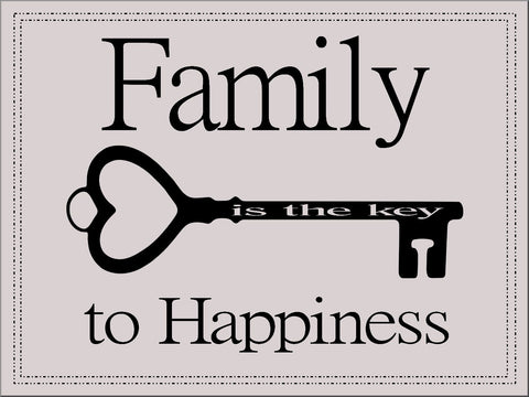 FAMILY KEY HAPPINESS QUOTE CANVAS WALL ART IMAGE COLOUR CAN BE CHANGED TO SUIT