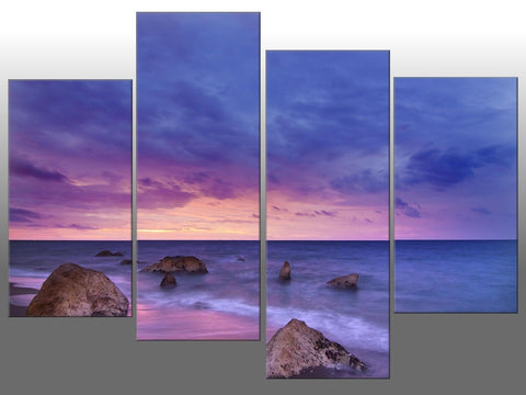 BEACH PURPLE BLUE PINK SSEASCAPE LARGE SPLIT PANEL 4 PANEL CANVAS WALL ART IMAGE