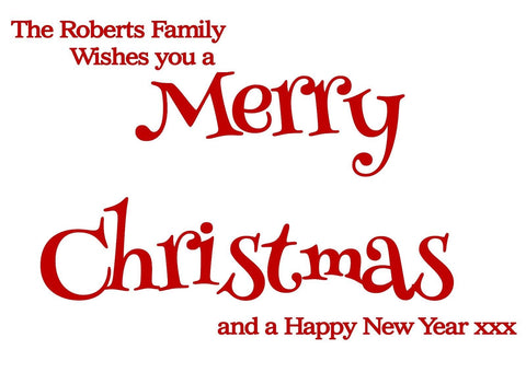 Merry Christmas Personalised Family Wall Window Sticker Decal Choice of Colour