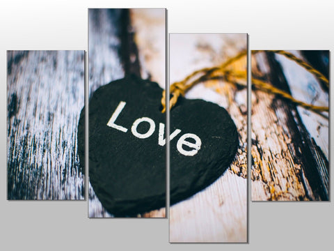 LOVE HEART SLATE PRINT BOARDS LARGE SPLIT PANEL 4 PANEL CANVAS WALL ART IMAGE