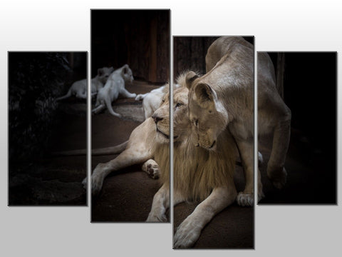 LION LIONESS BUBS FAMILY LOVE LARGE SPLIT PANEL CANVAS WALL ART IMAGE PICTURE