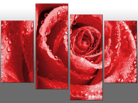 ROSE WATER RAIN RED LARGE SPLIT PANEL 4 PANEL CANVAS WALL ART IMAGE RED