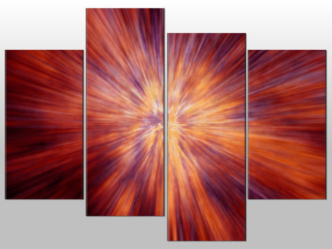 COLOUR TUNNEL PINK ORANGE RED LARGE SPLIT PANEL 4 PANEL CANVAS WALL ART IMAGE