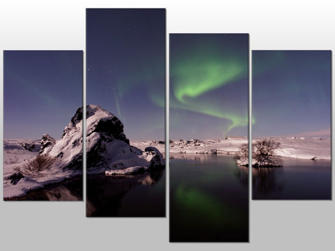 AURORA BOREALIS NORTHERN LIGHTS LARGE SPLIT PANEL 4 PANEL CANVAS WALL ART IMAGE
