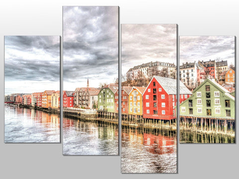 SEASCAPE VILLAGE SEA HOMES LARGE SPLIT PANEL 4 PANEL CANVAS WALL ART IMAGE