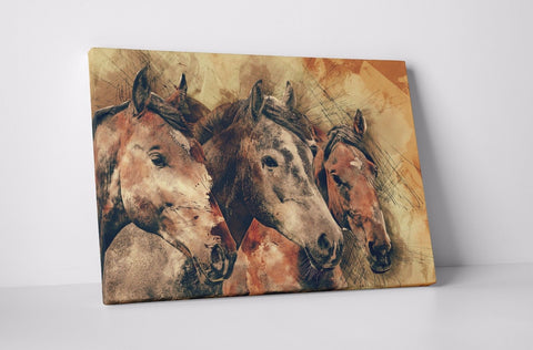 BROWN WILD HORSE PAINTING CANVAS IMAGE WALL HANGING PICTURE WALL ART