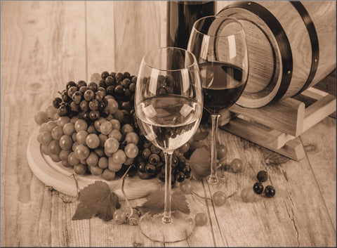 GRAPES WINE CAFE RESTAURANT SEPIA VINTAGE ANTIQUE CANVAS WALL ART IMAGE PICTURE