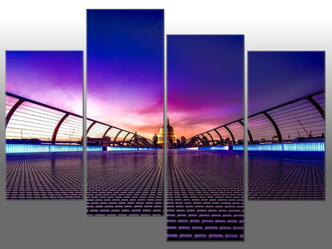 PURPLE PINK SUNSET LONDON BLUE ORANGE LARGE SPLIT PANEL 4 PANEL CANVAS WALL ART
