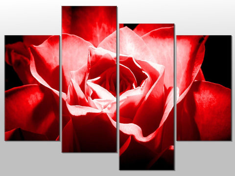 RED FLOWER CLOSE UP FLORAL LARGE SPLIT PANEL 4 PANEL CANVAS WALL ART IMAGE