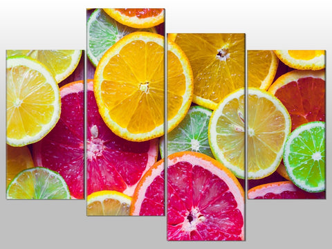 CITRUS FRUIT ORANGE LEMON LIME LARGE SPLIT PANEL 4 PANEL CANVAS WALL ART IMAGE