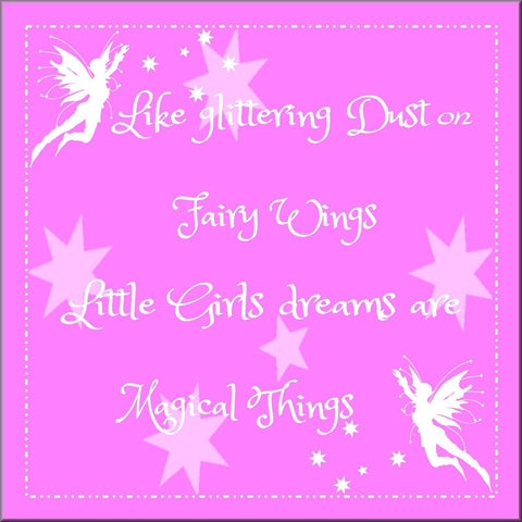 LITTLE GIRLS FAIRY QUOTE PINK CANVAS WALL ART HANGING IMAGE BEDROOM PLAYROOM