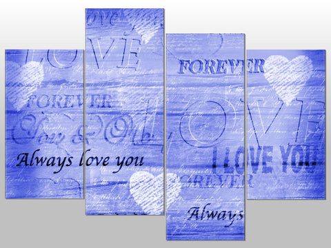 BLUE LOVE WORDS I LOVE YOU LARGE SPLIT PANEL 4 PANEL CANVAS WALL ART IMAGE