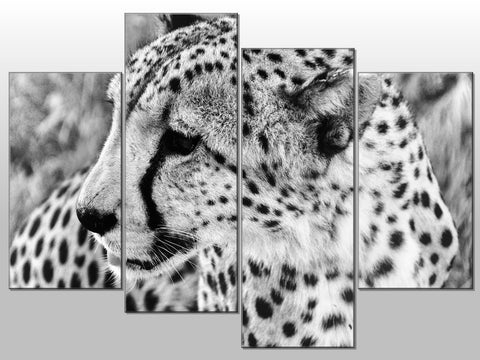LEAPORD BLACK AND WHITE ANIMAL LARGE SPLIT PANEL 4 PANEL CANVAS WALL ART IMAGE