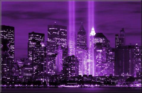 NEW YORK CITY CANVAS WALL HANGING IMAGE PHOTO PURPLE CITYSCAPE SKYLINE NYC