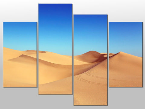 DESERT SAND DUNES BLUE SKY LARGE SPLIT PANEL 4 PANEL CANVAS WALL ART IMAGE