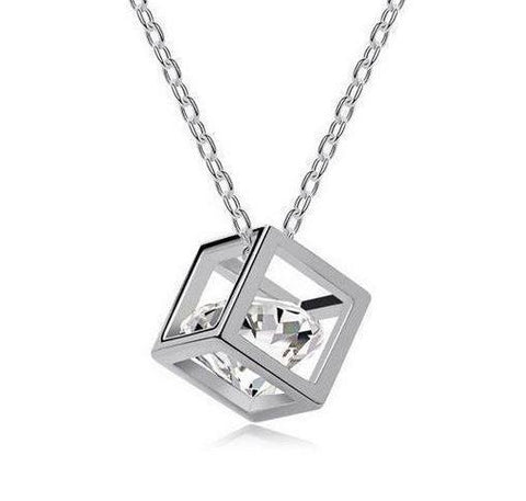 AUSTRIAN ZIRCONIA CUBE NECKLACE JEWELLERY PRESENT GIFT BIRTHDAY CHRISTMAS CHAIN