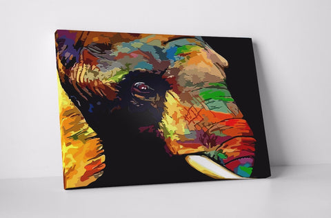 ELEPHANT COLOURS BLACK PAINT NATURE CANVAS WALL ART IMAGE PICTURE LARGE