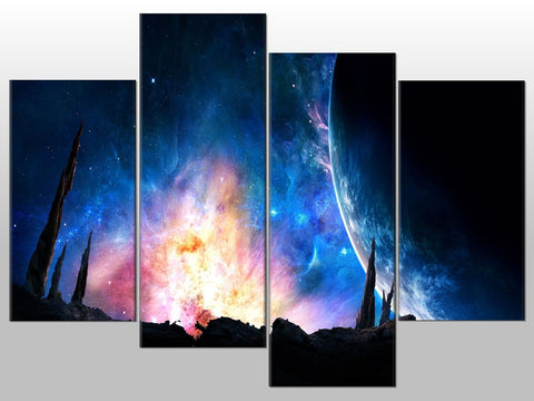 EARTH NEBULA SPACE GALAXY PLANET LARGE SPLIT PANEL 4 PANEL CANVAS WALL ART IMAGE