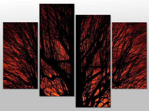ORANGE BROWN TREE SILHOUETTE LARGE SPLIT PANEL 4 PANEL CANVAS WALL ART IMAGE