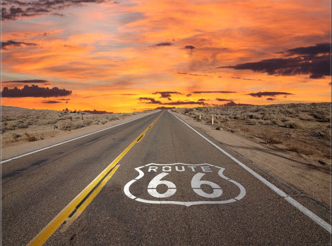 ROUTE 66 NORTH AMERICA TRAVEL LANDSCAPE CANVAS WALL ART HANGING PICTURE IMAGE