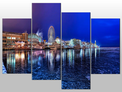 LANDSCAPE SEA BOATS BIG WHEEL LARGE SPLIT PANEL 4 PANEL CANVAS WALL ART IMAGE