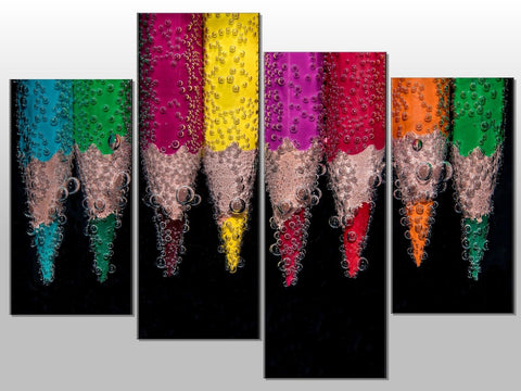 PENCILS WATER BUBBLES COLOURFUL LARGE SPLIT PANEL 4 PANEL CANVAS WALL ART IMAGE