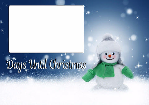 PERSONALISED LAMINATED CHRISTMAS COUNTDOWN SNOWMAN BLUE SNOW FALL PEN SPONGE