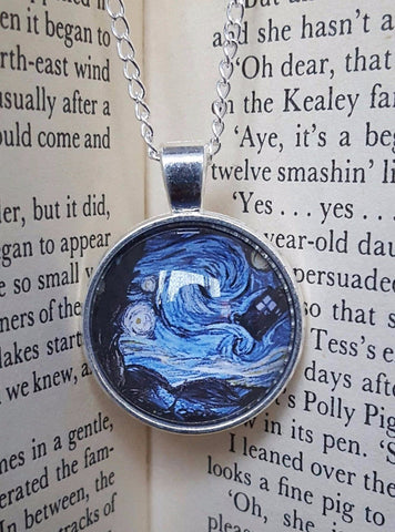 Jewellery Necklace Cabachon Gift Present Starry Night TARDIS Van Gogh The Dr