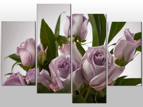 PURPLE ROSES LILAC FLORAL LARGE SPLIT PANEL 4 PANEL CANVAS WALL ART IMAGE