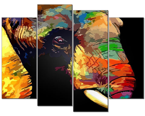ELEPHANT COLOURS BLACK PAINT LARGE SPLIT PANEL 4 PANEL CANVAS WALL ART IMAGE
