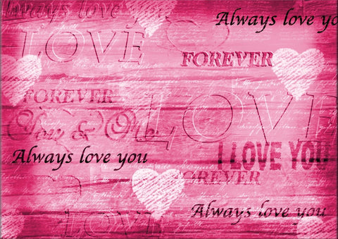PINK CANVAS LOVE IMAGE I LOVE YOU ALWAYS HEARTS CANVAS WALL ART HANGING IMAGE