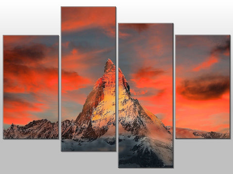 SUNSET MOUNTAIN ORANGE WHITE LARGE SPLIT PANEL 4 PANEL CANVAS WALL ART IMAGE