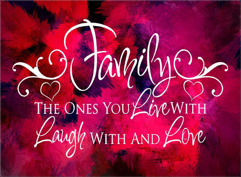 PINK ABSTRACT FAMILY LIVE LAUGH LOVE LARGE VARIOUS SIZES PANEL CANVAS WALL ART