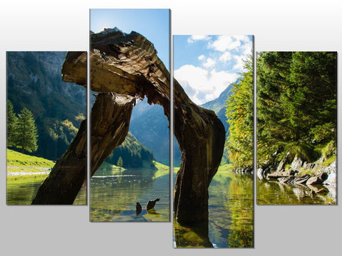LAKE MOUNTAINS LANSCAPE NATURE LARGE SPLIT PANEL 4 PANEL CANVAS WALL ART IMAGE